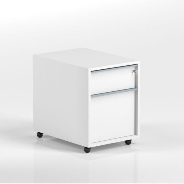 Rollcontainer FLEX T60 B43 H56 mit 1 x Schublade, 1 x Hängeregister und Schloss