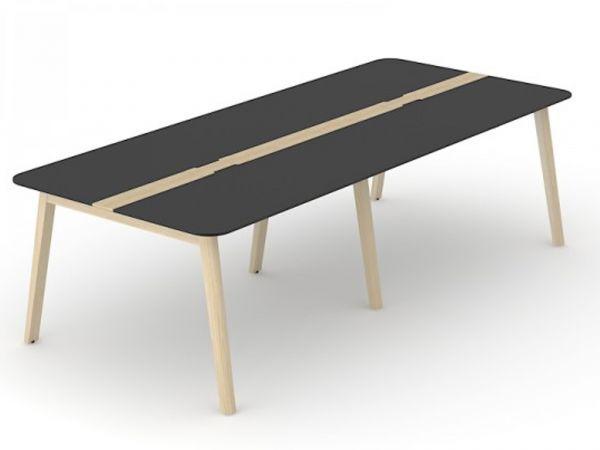 Konferenz- und Besprechungstisch Simple-Wood mit Tischplatte HPL und Eschegestell
