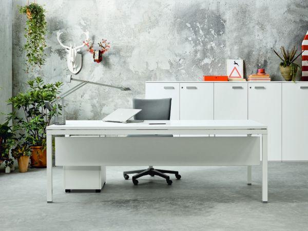 frezza LINK Schreibtisch mit Melamin oder Glasplatte höhenverstellbar