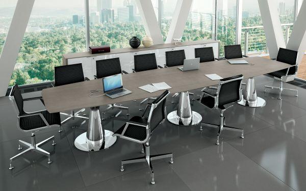 Bralco Metar Konferenztisch mit Tischplatte furnier 440 x 120 cm in Bootsform