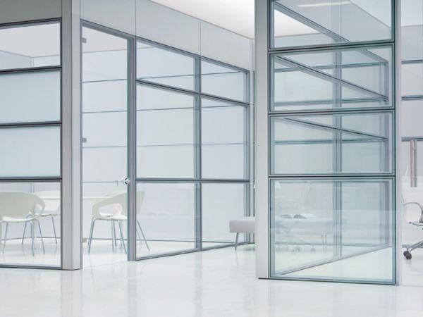 Frezza Areaplan Modulo Raumabtrennung mit Glaswände und Aluminium Profil
