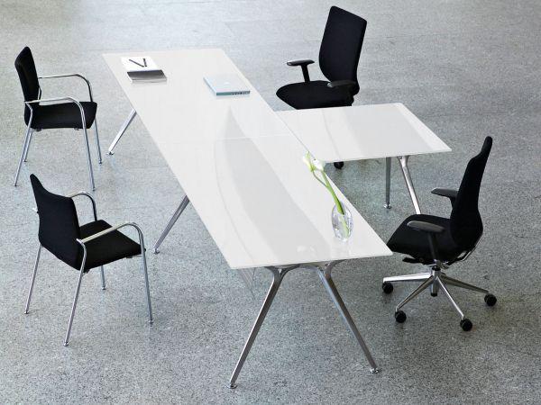 Actiu ARKITEK 2er Teamarbeitsplatz mit Anbautisch mit Glasplatte