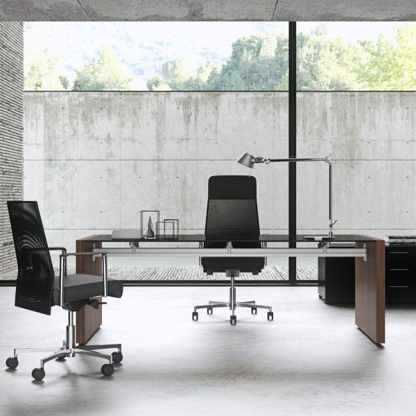 frezza Tiper Executive Schreibtisch mit Seitenverkleidung Furnier