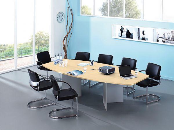 Konferenztisch MV48J 280x130 in Bootsform mit Holzgestell silber