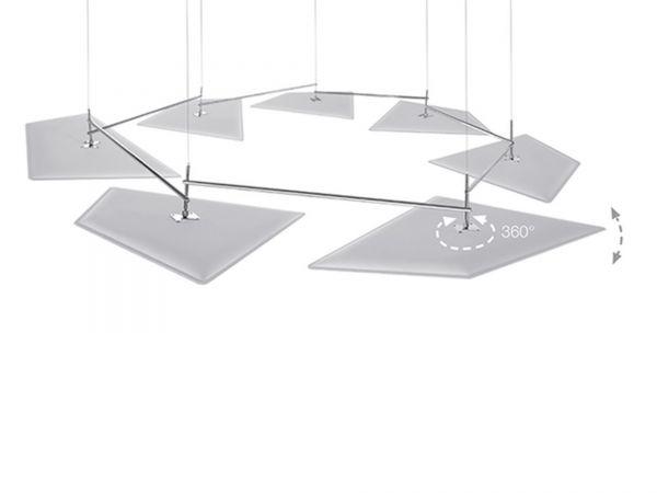 Caimi Brevetti Flap Deckenakustik in Kettenform mit flexiblen Panellen