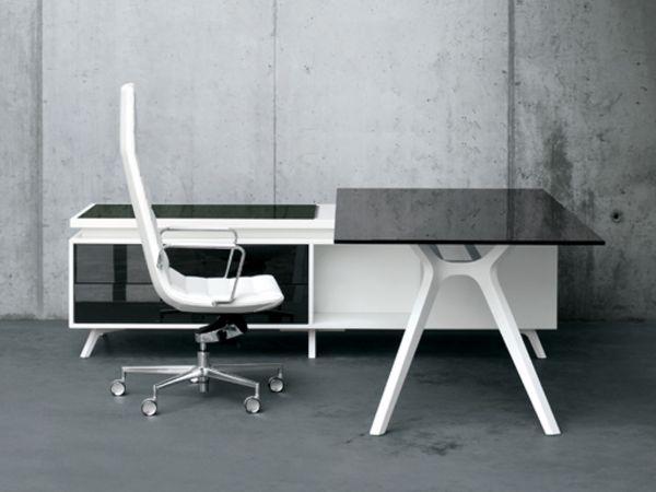 frezza DR Executive Schreibtisch mit Sideboard weiß und Glasplatte schwarz