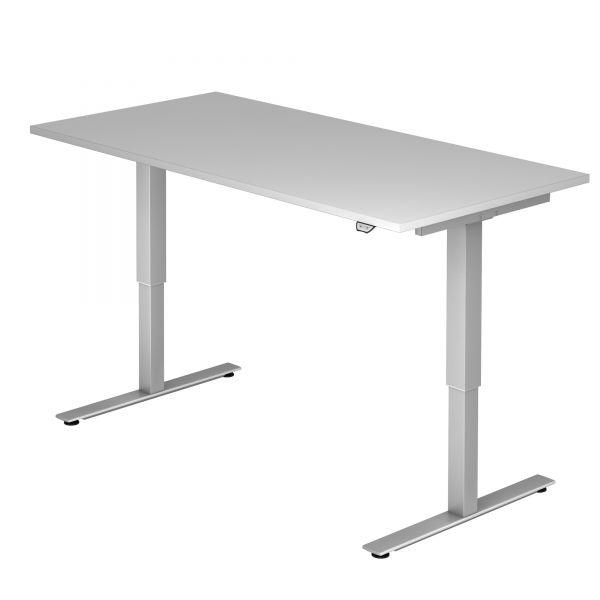 Schreibtisch ZOUV - elektr. höhenverstellbar 72-119 cm mit Hubsäule rechteckig und Tischplatte