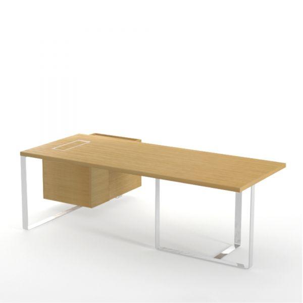Executive Schreibtisch PURE mit Hängecontainer und Kabelmanagement