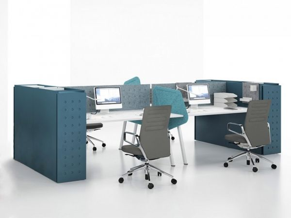 Balma Plus 4er Arbeitsplatzsystem mit Apothekerschrank und Trennwände