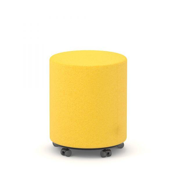 Sitzwürfel rund D40 cm mit Rollen in Wolle Velito