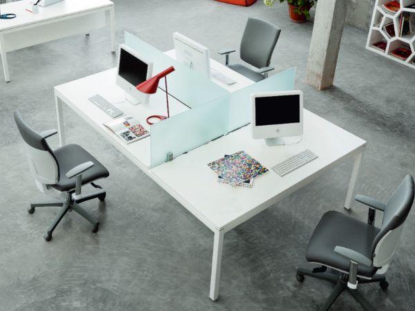 frezza LINK 3er Bench Teamarbeitsplatz mit Screen aus Glas und Kabelwanne