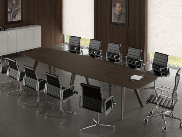 Bralco RAIL Konferenztisch 360/440x120 cm mit Tischplatte Eiche und Holzgestell
