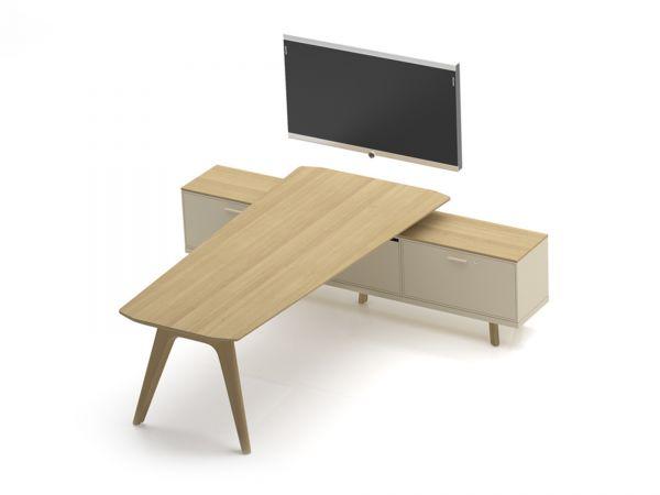 Bralco RAIL Meeting-Point mit Holztisch in Eiche furniert und Sideboard