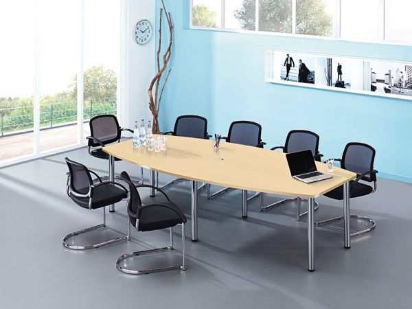 Konferenztisch MV48E in Bootsform mit Chromfuss in zwei Größen