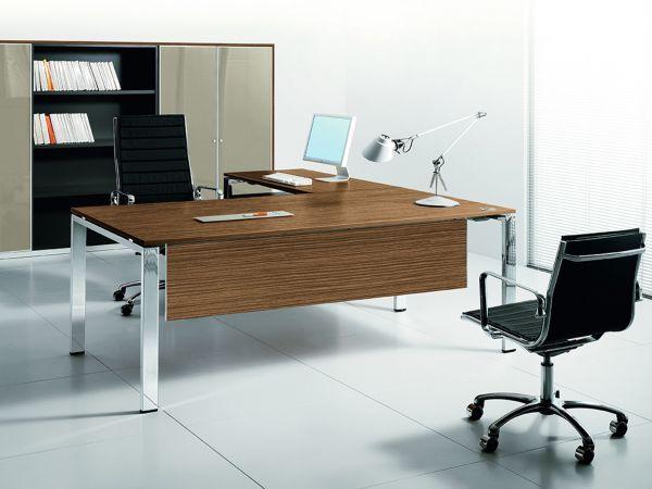 Bralco GLIDER Eckschreibtisch mit Tischplatte Furnier und Sichtblende