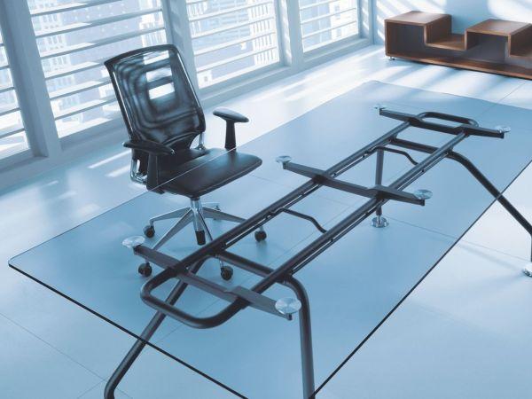 Balma XENON Schreibtisch mit Tischplatte in Furnier oder Glas