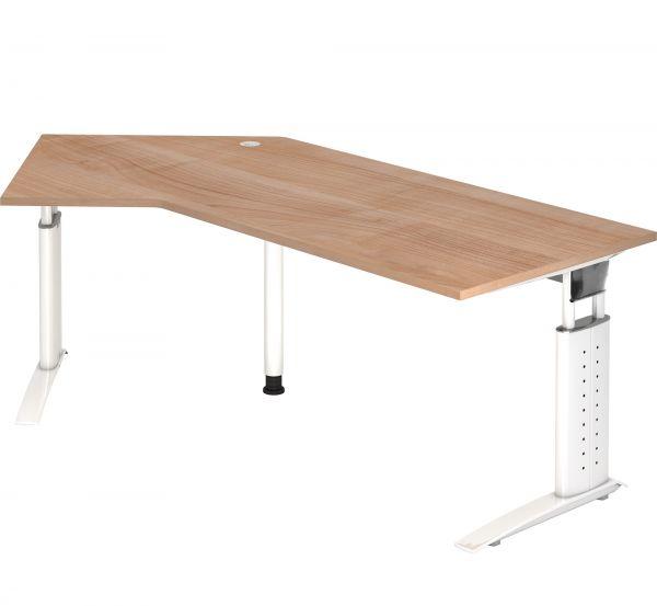 Schreibtisch W-Serie mit C-Fuß höhenverstellbar 68 - 86 cm