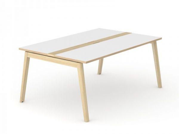 Konferenz- und Besprechungstisch Simple-Wood mit Tischplatte Melamin und Eschegestell