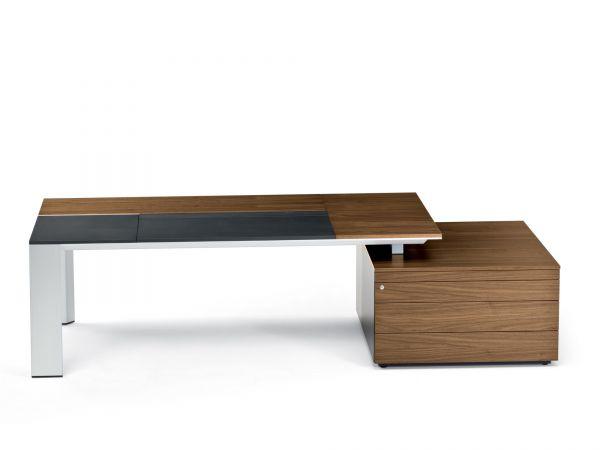 Frezza ONO Schreibtisch mit Container und Arbeitsfläche in Leder