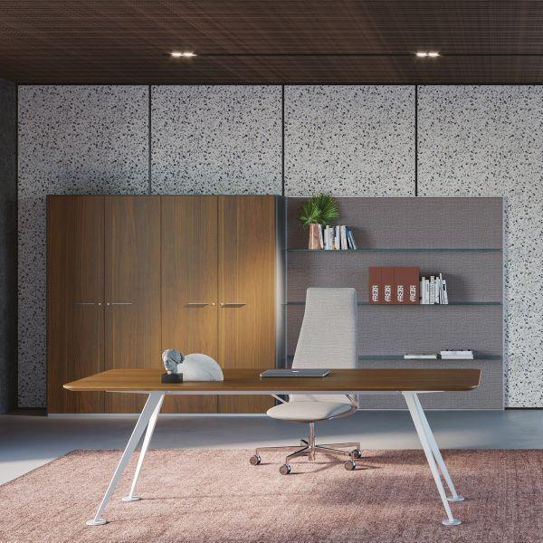 frezza Schreibtisch SPIKE rechteckig in Melamin/Furnier