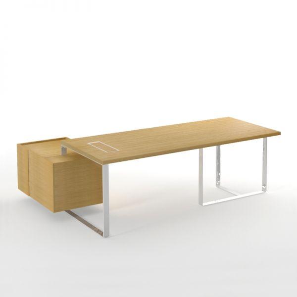 Executive Schreibtisch PURE mit Sideboard und Kabelmanagement