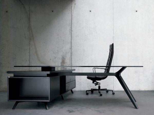 frezza DR Executive Schreibtisch mit Sideboard schwarz und Glasplatte schwarz