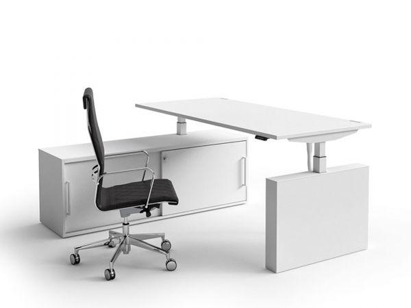 Bralco WINGLET Steh-Sitz-Schreibtisch mit Sideboard und elektrischer Höhenverstellung