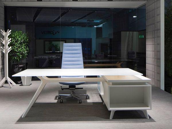 frezza DR Executive Schreibtisch mit Sideboard weiß und Glasplatte