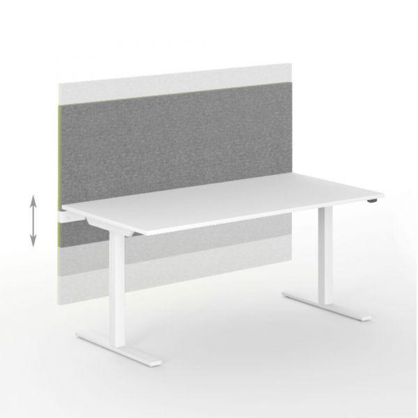Tischtrennwand Akustik MODUS H74 cm höhenverstellbar in Wolle VELITO