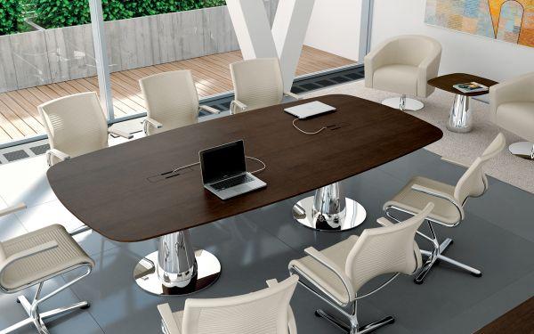 Bralco Metar Konferenztisch mit Tischplatte furnier 280 x 120 cm in Bootsform