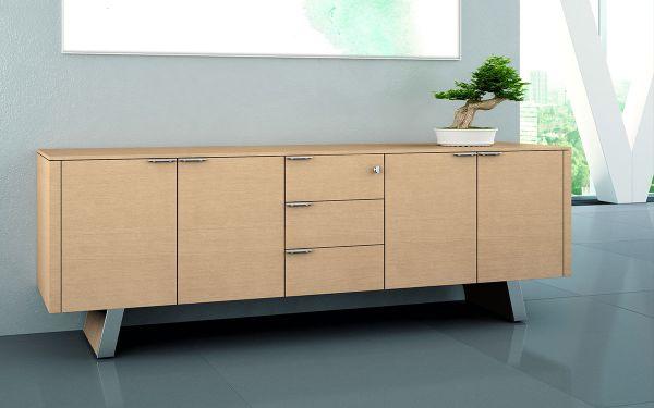 Bralco Metar Sideboard 216x57,4x75xcm mit 4 Türen und 3 Schubladen