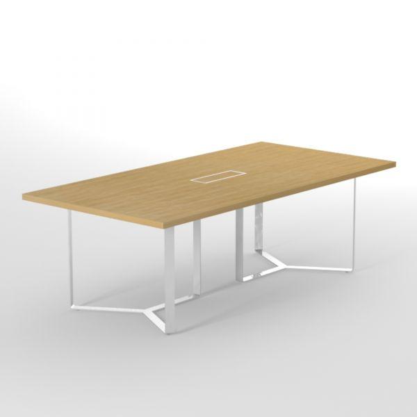 Konferenztisch PURE 240x120 cm mit Metallgestell und Kabelmanagement