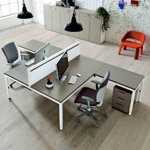 frezza LINK 2er Arbeitsplatz in L-Form mit Schreibtisch mit Anbautisch