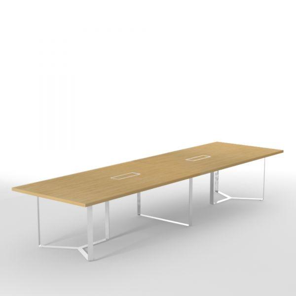 Konferenztisch PURE 420x120 cm mit Metallgestell und Kabelmanagement
