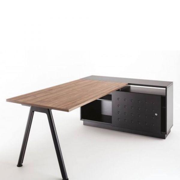 Balma Plus Schreibtisch fest mit angesetztem Container mit Schiebetür