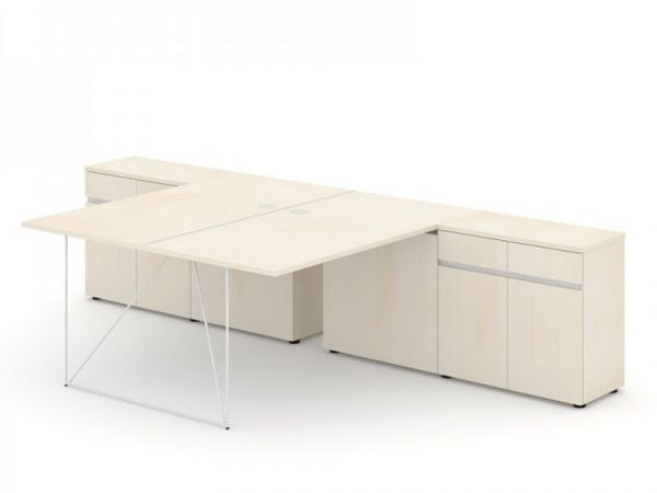 Schreibtisch Loft - Design Teamschreibtisch mit Sideboard