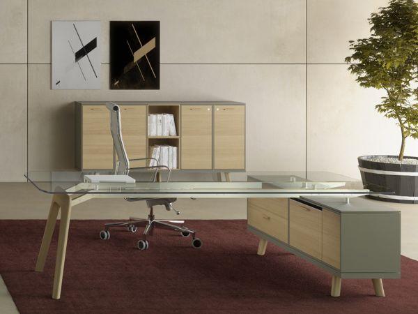 Bralco RAIL Executive Schreibtisch mit Sideboard und Glasplatte