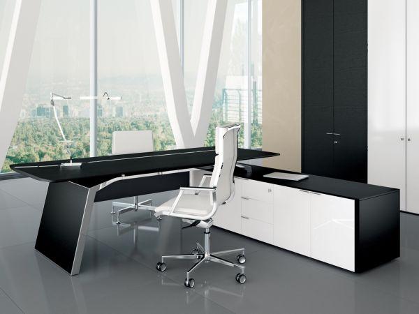 Bralco Metar Executive Schreibtisch mit Sideboard in Eiche furniert