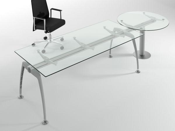 frezza Tiper Schreibtisch 180/200 cm mit Anbau-Tisch 100 cm rund aus Glas