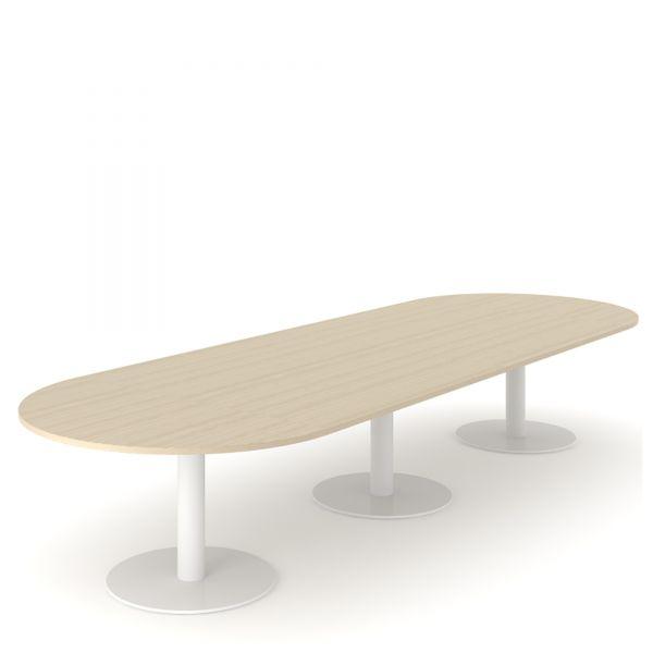 Besprechungstisch FLAP 420x140 mit 3x Säulengestell und Tellerfuß