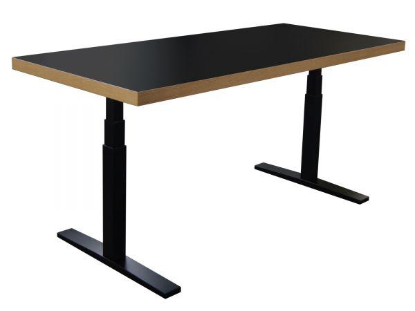 Premium Sitz-Steh-Tisch elektrisch mit Eiche Echtholzkante