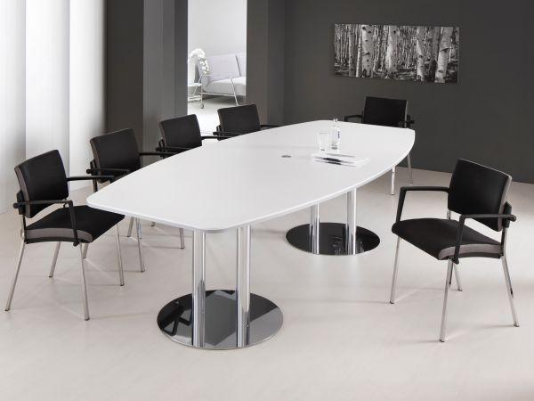Konferenztisch MV48U in Bootsform mit Tellerfuss in zwei Größen