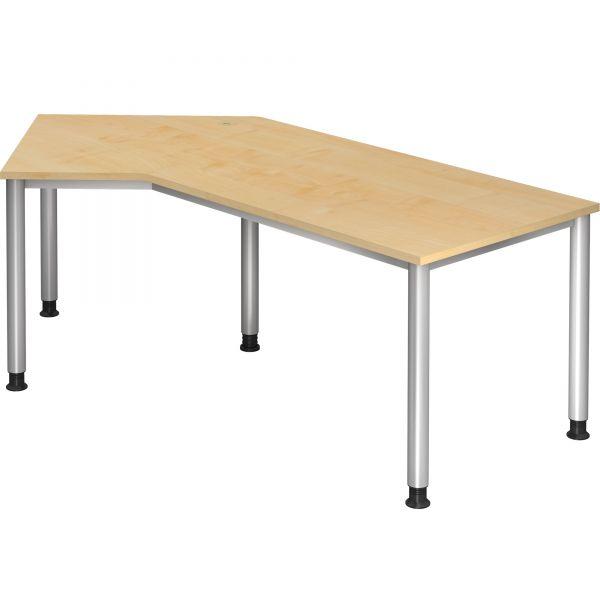 Schreibtisch J-Serie mit 4-Fuß höhenverstellbar 68 - 76 cm