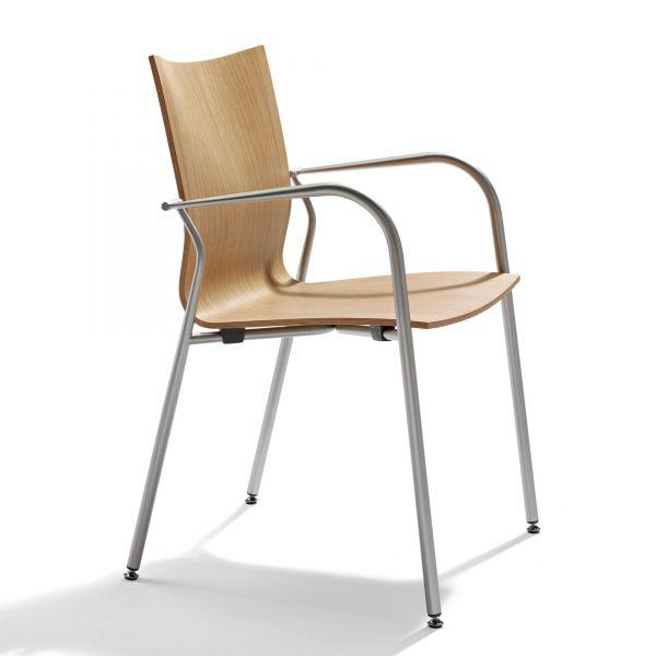 Actiu IKARA Besucherstuhl 4-Fuss mit Holzsitz stapelbar