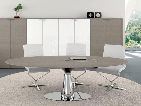 Bralco Metar Besprechungstisch mit Tischplatte furnier 220 x 110 cm oval