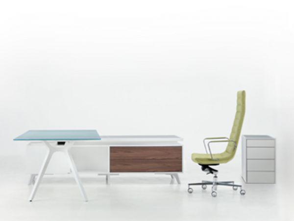frezza DR Executive Schreibtisch mit Sideboard weiß-nussbaum und Glasplatte