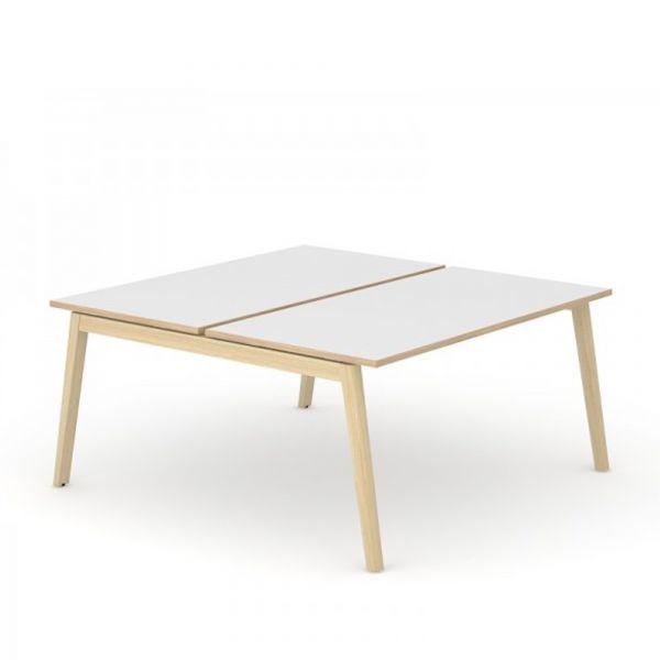 Team-Schreibtisch Simple-Wood mit Melamin Tischplatte und Eschegestell