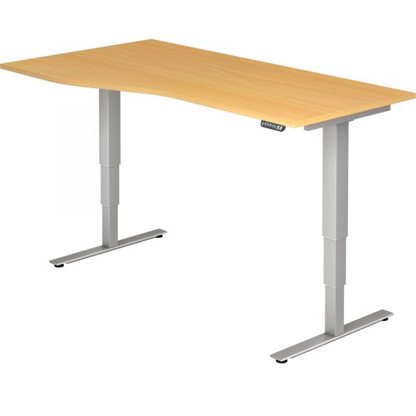 Schreibtisch ZFUO - elektr. höhenverstellbar 63,5-128,5 cm mit Hubsäule rechteckig und Tischplatte