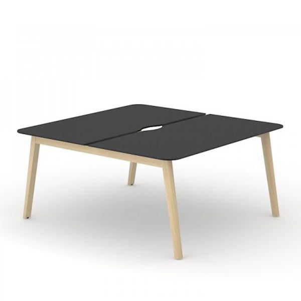 Team-Schreibtisch Simple-Wood mit HPL Tischplatte und Gestell aus Esche massiv