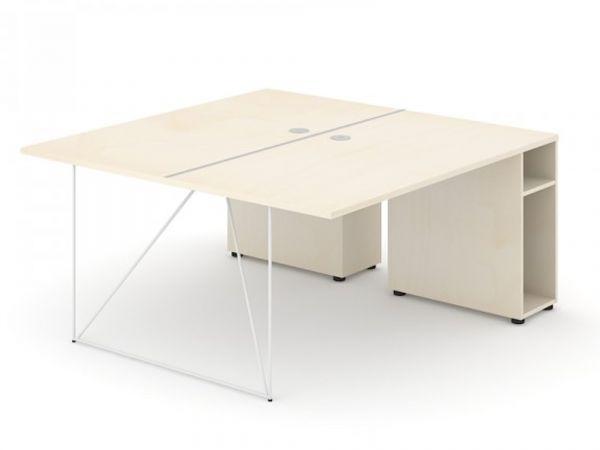 Schreibtisch Loft - Design Teamschreibtisch mit Container